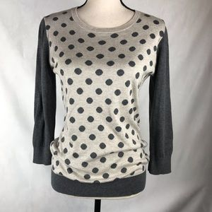 Banana Republic Factory Sweater Beige Grey Dots M